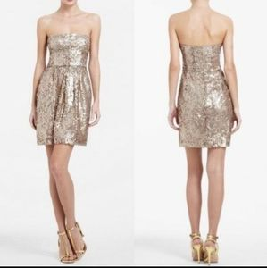 BCBG MAXAZRIA❤Strapless Gold Sequin Dress